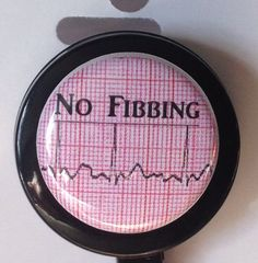Cardiology nurse No fibbing,badge reel, Humor,EKG medical Badges cardiology gift name tag holder,retractable clip telemetry dysrhythmia