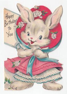 Vintage Greeting Card Die Cut Cute Bunny Rabbit Wearing Dress Hat Hallmark 1950s Valentine