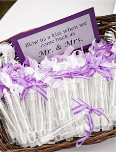 """would word it to say kisses to rhyme with Mrs!!! """"Heres some bubbles to blow us kisses as we walk down as Mr and Mrs!"""" :)"""