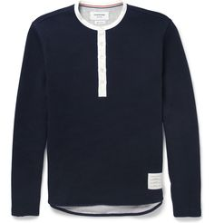 THOM BROWNE - RIBBED COTTON-JERSEY HENLEY T-SHIRT