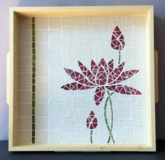 Simple and sophisticated lotus design in red and white mosaic Mosaic Tray, Mosaic Pots, Mosaic Garden, Mosaic Glass, Mosaic Tiles, Mosaics, Mosaic Crafts, Mosaic Projects, Projects To Try