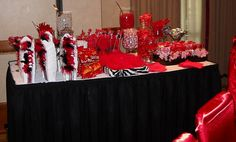 Pink Swan Events - Red, White, Black and Zebra Candy Buffet (www.PinkSwanEvents.com)