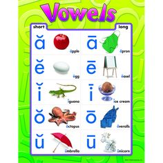 This chart presents the vowels A, E, I, O, and U with a short vowel line above each letter. Provides photographic representations for words that have short vowel sounds, with rules and pronunciation.