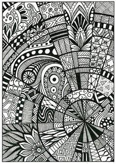 Doodle, pattern, drawing, zentangle, postcard - #doodleart Doodle Art For Beginners, Easy Doodle Art, Doodle Art Drawing, Zentangle Drawings, Nature Drawing, Mandala Drawing, Zentangle Patterns, Art Drawings, Drawing Ideas