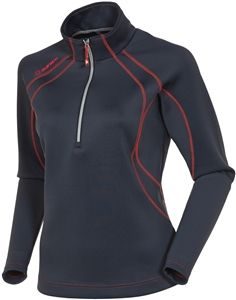 golf mid-layer in charcoal with radiant red top-stitching; great for fall golf #sunice #golf4her