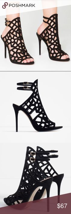 ZARA Leather Sandals / High Heels High heel leather sandals. Laser-cut upper with a geometric design. Double strap and buckles fastening. Heel height of 10 cm. / 3.9″ Zara Shoes Heels
