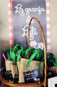 Burlap bags at a farm birthday party! See more party planning ideas at CatchMyParty.com!