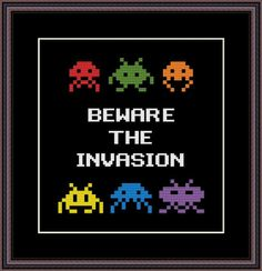 Space Invaders Funny Cross Stitch PDF Pattern Beware The Invasion