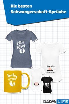 Die beste Art zu sagen, dass ihr schwanger seid? Ein Schwangerschaft-T-Shirt mit klarer Andeutung. #schwanger #mama #papa #schwangerschaft #kind #tshirt Baby Laden, Onesies, Sports, Clothes, Tops, Fashion, Perfect Gift For Mom, Good Birthday Presents, Gift Ideas For Women