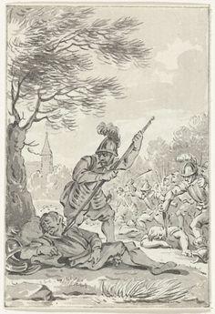 Jacobus Buys | De moord op graaf Floris I, slapend onder een boom, 1061, Jacobus Buys, 1778 - 1795 | Graaf Floris I wordt op 28 juni 1061 te Nederhemert slapend onder een boom vermoord. Ontwerp voor een prent.