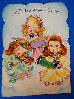 UNUSED Pretty Angel Girls Sing on High FOLDOUT Vintage Christmas Card Large