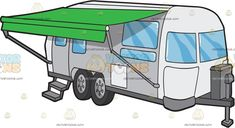 An Airstream Trailer With Awning: A popup caravan with a gray and white body paint glass windows a popup green awning four wheels and a steel attachment up front Tiny Trailers, Airstream Trailers, Painting On Glass Windows, Travel Clipart, Grey And White, Gray, White Bodies, Vector Illustrations, Popup