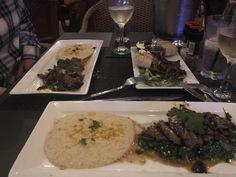 Courtyard restaurant New Smyrna Beach, filet mignon medallions over spinach and cauliflower mash!
