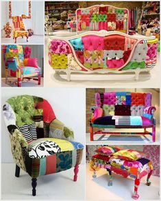 great set of colourful upcycled furniture. Reminds me of my bestie & her colorful spirit