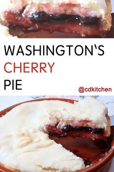 I cannot tell a lie... this pie is delicious! The story about young George Washington cutting down a cherry tree may have been a myth, but this pie is truly a winner. Cherries are baked in a custard-like filling and topped with meringue. You can substitute frozen cherries for the canned, just thaw and drain them well.  | CDKitchen.com