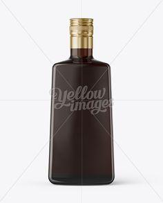 Square Amber Glass Black Rum Bottle Mockup