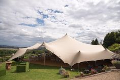 Outside shot of our 21m x 15m stretch tent rustic wedding