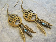 Bear Dream Catcher Earrings ANTIQUED BRONZE by Abundantearthworks  #bronze #feather #featherearrings #dangleearrings #bearearrings #bearclaw #bearpaw #pawprint #dreamcatcher #dreamcatcherearrings #native #southwestern #nativejewelry #abundantearthworks #handmade