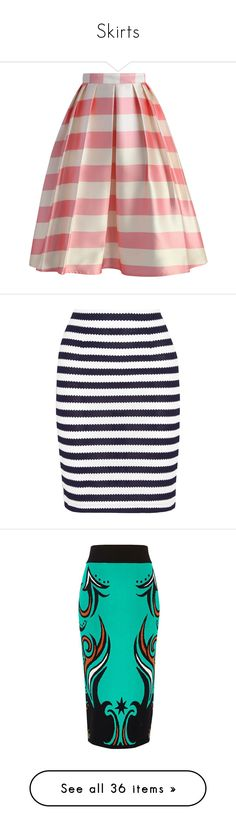 """Skirts"" by andrea-zepeda-1 ❤ liked on Polyvore featuring skirts, bottoms, pink, midi skirt, striped midi skirt, pink skirt, striped skirt, striped pleated skirt, navy and diane von furstenberg skirt"