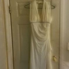 Mom Dad & Me Wedding Dress Halter off white long wedding dress only worn once on wedding day. Dresses Long Sleeve