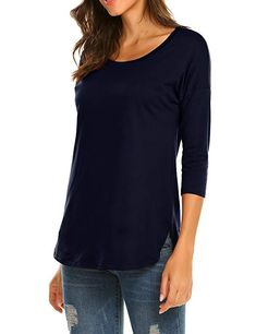 e80c92b0a6d Sherosa Casual 3/4 sleeve Loose Womens Tunic Style Tops Scoop Neck Casual  Fall Trends