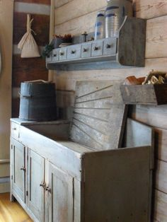 Dry sink and apothecary shelf.