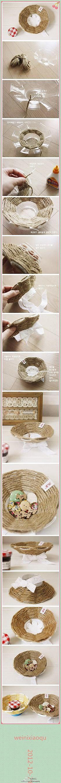 Weaving on a plastic cup add long twine to hang by and bird food Fun Crafts, Diy And Crafts, Crafts For Kids, Arts And Crafts, Diy Projects To Try, Craft Projects, Diy Love, Plastic Bottle Crafts, Plastic Bottles