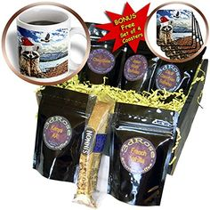 Doreen Erhardt Christmas Collection  Christmas Raccoon in a Santa Hat Mountain Wildlife  Coffee Gift Baskets  Coffee Gift Basket cgb_203024_1 *** You can find more details by visiting the image link.