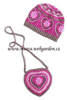 Heart motif hat and purse