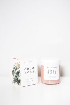 Coco Rose Body Polish from Herbivore Botanicals is a highly moisturizing and gently exfoliating blend of virgin coconut oil and delicately floral Moroccan Rose. Leaves your skin soft and hydrated with Skincare Packaging, Beauty Packaging, Cosmetic Packaging, Brand Packaging, Candle Packaging, Pretty Packaging, Clever Packaging, Candle Branding, Tea Packaging