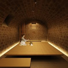hidden lighting and atmosphere Japanese Modern, Japanese Interior, Japanese House, Japanese Architecture, Interior Architecture, Hidden Lighting, Brick Arch, Kengo Kuma, Oriental