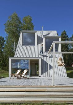 An intimate look at Sweden's coolest off-grid summer house with built-in climbing wall and wood A-Frame shape, designed by Swedish architect Leo Qvarsebo A Frame Cabin, A Frame House, Wall Design, House Design, Summer Cabins, Lakefront Property, House Drawing, Tiny House Living, Architecture
