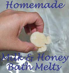 Homemade Milk and Honey Bath Melts http://fabulesslyfrugal.com/homemade-milk-honey-bath-melts/