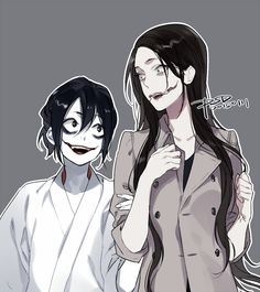 Jeff The Killer and Kuchisake Onna <--- The slit-mouthed woman! I'm glad it was this person who did this; they always have such good art!
