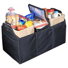 The Deluxe Trunk Organizer makes hauling groceries and other items easier. Its 3 compartments can hold a variety of items and keeps them in securely in place while driving. An included removable cooler bag is perfect for transporting frozen foods. (may not have the advertised Velcro on the bottom, though)