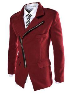 973aef114f74 Amazon.com  TheLees Mens Unbalance Zipup Slim Fit PEA Coat Black US M(Tag size  2XL)  Clothing