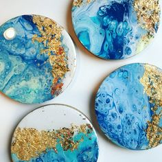 Dirty Pour Coasters with a gold foil and resin finish