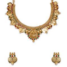 The New Temple Stone Lakshmi Necklace With Mango Design