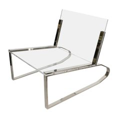 Charles Hollis Jones Lucite and Chrome Chair , ca.1970's
