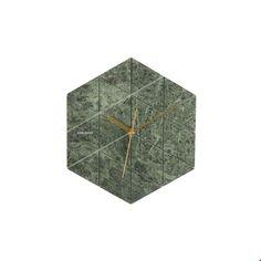 Karlsson Wandklok Marmer Hexagon 28,5 cm - Groen - afbeelding 1