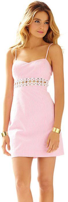 Sheena Seersucker Lace Detail Dress