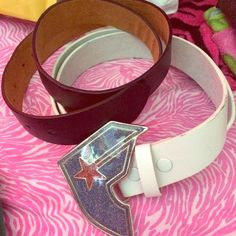 ✨FAMOUS belt buckle & belts✨ Used belts in good condition. Additional holes were made to fit me. Famous Stars and Straps Accessories Belts