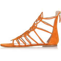 Dsquared2 Flat Chamois Sandals ($215) ❤ liked on Polyvore featuring shoes, sandals, orange, logo shoes, round toe flat shoes, orange shoes, flat shoes and round toe shoes