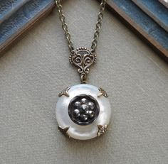 Winter Blossom Antique Steel Cut Button with by TimelessTrinkets