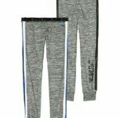 VS Grey Gym Pants NWT Gray VS Gym Pants Capris Size XS White/Blue/Black Leather Jersey strip down the sides. Foldover Waistband Victoria's Secret Pants Track Pants & Joggers