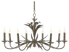 , Beautiful French Country Chandelier Called Florence Antique Gray Metal Leaf French Country 8 Light Chandelier: French Country Bedroom Furniture as Great Idea