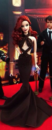 Redhead Barbie stuns on the Red Carpet in a beaded black halter gown.