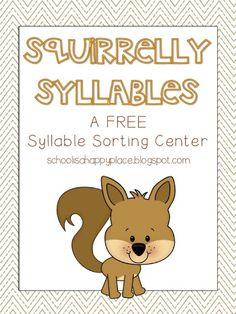 FREE fall themed literacy center (syllable sort with recording sheet)