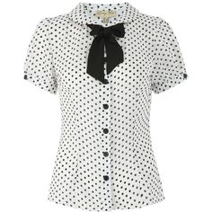 'Chelsea' Perfect Polka Vintage 50's Inspired Short Sleeved Pin Up Top (1.060 RUB) ❤ liked on Polyvore featuring tops, white, button top, short sleeve tops, pinup top, fitted tops and white short sleeve top