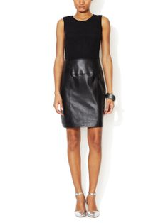Lace and Leather Sheath Dress by Renvy at Gilt